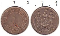 Изображение Монеты Борнео 1 цент 1938 Медно-никель XF