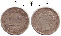 Изображение Монеты Стрейтс-Сеттльмент 10 центов 1901 Серебро XF-
