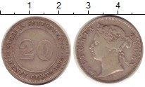 Изображение Монеты Стрейтс-Сеттльмент 20 центов 1899 Серебро XF Королева  Виктория.