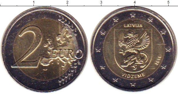 Картинка Мелочь Латвия 2 евро Биметалл 2016