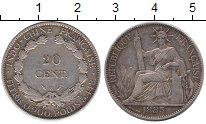 Изображение Монеты Индокитай 20 центов 1885 Серебро XF- Французская уолония