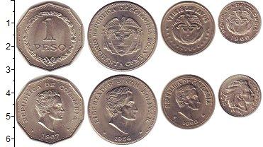 Изображение Наборы монет Колумбия Колумбия 1958-1968 0 Медно-никель UNC- В наборе 4 монеты но