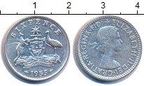 Изображение Монеты Австралия 6 пенсов 1955 Серебро XF