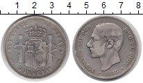 Изображение Монеты Испания 5 песет 1885 Серебро XF- Альфонсо XII