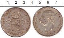 Изображение Монеты Испания 5 песет 1885 Серебро XF