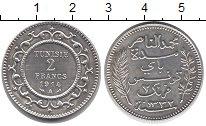 Изображение Монеты Тунис 2 франка 1914 Серебро UNC