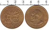 Изображение Дешевые монеты Кения 10 центов 1971 Латунь XF