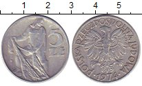 Изображение Барахолка Польша 5 злотых 1974 Алюминий