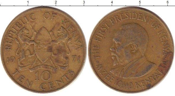 Картинка Дешевые монеты Кения 10 центов Латунь 1971