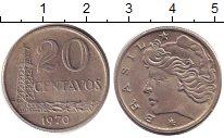 Изображение Барахолка Бразилия 20 сентаво 1970 Медно-никель XF