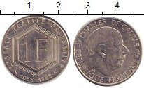 Изображение Дешевые монеты Франция 1 франк 1988 Медно-никель XF