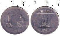Изображение Дешевые монеты Индия 1 рупия 2010 Медно-никель XF