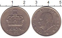 Изображение Дешевые монеты Норвегия 1 крона 1988 Медно-никель XF-