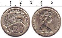 Изображение Монеты Новая Зеландия 20 центов 1970 Медно-никель UNC- птица киви - Елизаве