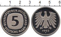 Изображение Монеты ФРГ 5 марок 1993 Медно-никель UNC