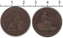 Изображение Монеты Испания 5 сентим 1870 Медь VF