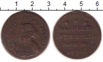 Изображение Монеты Италия 1 байоччи 1796 Медь VF
