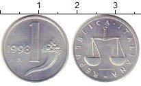 Изображение Монеты Италия 1 лира 1998 Алюминий XF