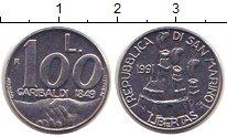 Изображение Монеты Сан-Марино 100 лир 1991 Алюминий XF