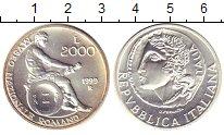 Изображение Монеты Италия 2000 лир 1999 Серебро UNC Национальный  музей