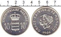 Изображение Монеты Монако 10 франков 1966 Серебро UNC UNUSUAL.