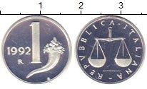 Изображение Монеты Италия 1 лира 1992 Алюминий Proof-