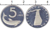 Изображение Монеты Италия 5 лир 1993 Алюминий Proof-