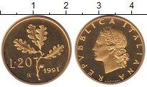 Изображение Монеты Италия 20 лир 1991 Латунь Proof-