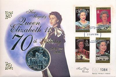Изображение Подарочные монеты Остров Святой Елены 50 пенсов 1996 Медно-никель UNC Монета номиналом 50