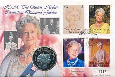 Изображение Подарочные монеты Теркc и Кайкос 60 лет Коронации королевы-консорта Елизаветы 1997 Медно-никель UNC Монета номиналом 5 к