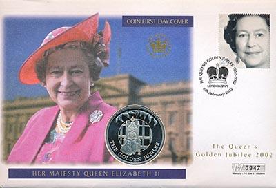 Изображение Подарочные монеты Фолклендские острова 50 лет Правления Елизаветы II 2002 Медно-никель UNC Монета номиналом 50