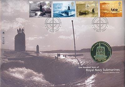 Изображение Подарочные наборы Великобритания 100 лет Королевскому подводному флоту 2001 Латунь UNC