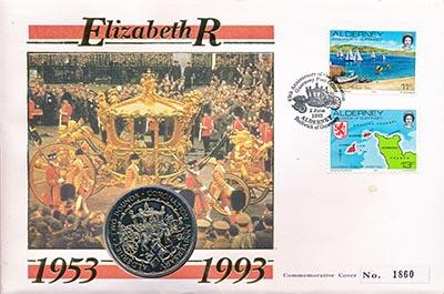 Изображение Подарочные наборы Олдерни 40 лет Коронации Елизаветы II 1993 Медно-никель UNC Монета номиналом 2 ф