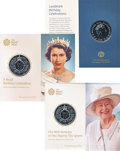 Изображение Подарочные монеты Великобритания 90 лет Елизавете II 2016 Медно-никель UNC Монета номиналом 5 ф