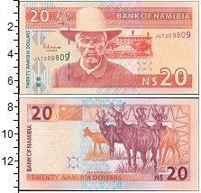 Изображение Банкноты Намибия 20 долларов 2002  UNC Хендрик Витбоой. Ант