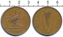 Изображение Монеты Ирландия 1 пенни 1963 Бронза VF курица с цыплятами -