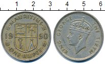 Изображение Монеты Маврикий 1 рупия 1950 Медно-никель XF