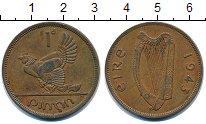 Изображение Монеты Ирландия 1 пенни 1943 Бронза XF курица с цыплятами -