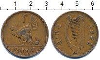 Изображение Монеты Ирландия 1 пенни 1942 Бронза XF курица с цыплятами -