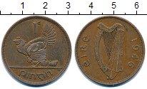 Изображение Монеты Ирландия 1 пенни 1946 Бронза XF курица с цыплятами -