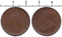 Изображение Монеты Цейлон 1 цент 1925 Бронза UNC-