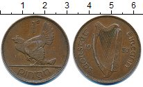 Изображение Монеты Ирландия 1 пенни 1937 Бронза VF курица с цыплятами -