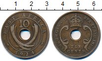 Изображение Монеты Великобритания Восточная Африка 10 центов 1924 Бронза XF