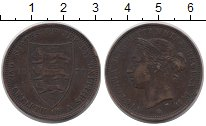 Изображение Монеты Остров Джерси 1/12 шиллинга 1877 Бронза VF Королева  Виктория.