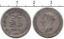 Изображение Монеты Цейлон 25 центов 1899 Серебро VF Британский  протекто