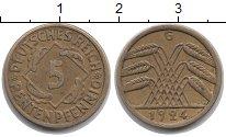 Изображение Монеты Веймарская республика 5 пфеннигов 1924 Латунь XF G