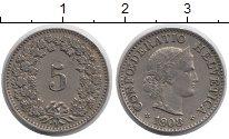 Изображение Монеты Швейцария 5 рапп 1908 Медно-никель XF