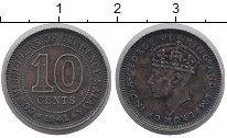 Изображение Монеты Малайя 10 центов 1941 Серебро XF Георг VI.