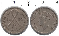 Изображение Монеты Великобритания Родезия 6 пенсов 1950 Медно-никель XF
