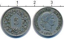 Изображение Монеты Швейцария 5 рапп 1911 Медно-никель VF номинал - женмкий пр